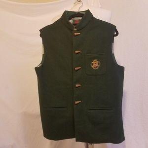 Vtg LEPRINCE JARDINIER Wool/Cahmere Vest w/Crest